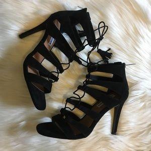 New Steve Madden Lace Up Black Sandal Heels